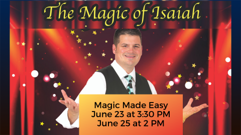 Magic Made Easy. Isaiah, the magician, is standing in front of a red curtain.