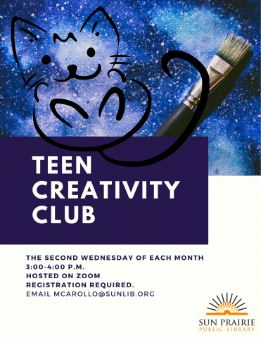 image of a cat and a paint brush advertising teen creativity club.
